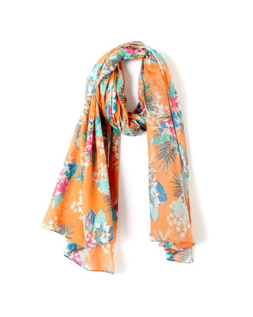 LA REDOUTE - Orange Floral Print Scarf - Lyst