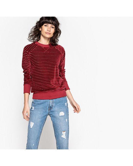 LA REDOUTE - Red Striped Velour Sweatshirt - Lyst