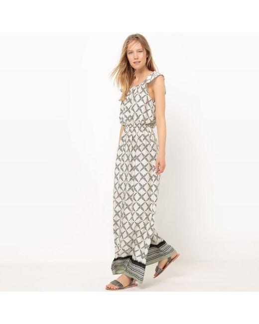 LA REDOUTE | White Draping Printed Maxi Dress | Lyst