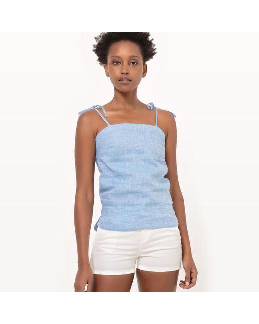 LA REDOUTE   Blue Tie Halter Neck Linen Camisole With Shoestring Straps   Lyst