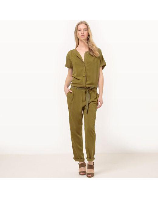 LA REDOUTE | Green Tie Waist Jumpsuit | Lyst