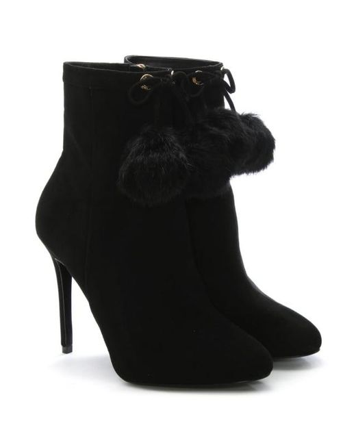 michael kors remi black suede pom pom fur ankle boots in black save 63 lyst. Black Bedroom Furniture Sets. Home Design Ideas
