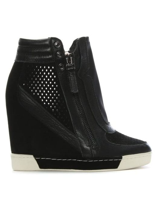 5058f322bdb Lyst - Daniel Perfo Black Suede   Leather Concealed Wedge Trainer in ...