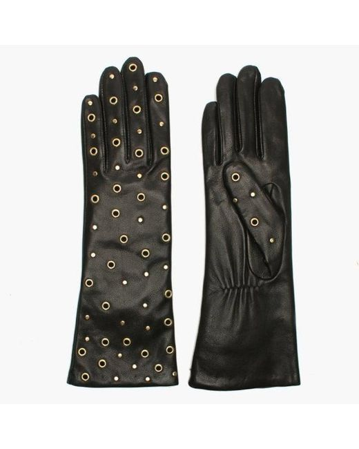 Agnelle - Arzu Studded Black Leather Long Gloves - Lyst