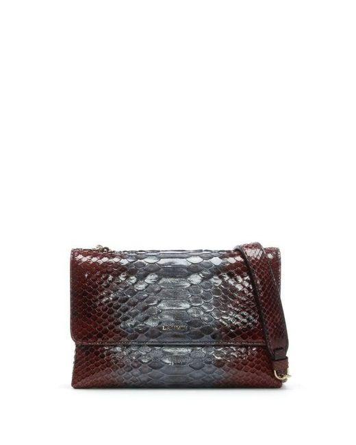 Lanvin - Multicolor Mini Sugar Garnet Python Leather Burgundy Cross-body Bag - Lyst