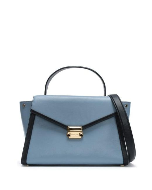 Michael Kors - Large Whitney Pale Blue & Admiral Leather Satchel Bag Col - Lyst