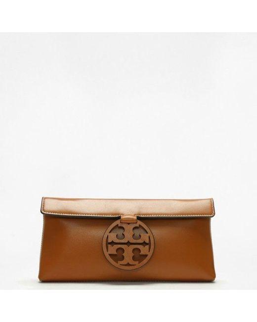 cd6381b4b4b6 Tory Burch - Brown Miller Aged Camello Leather Clutch Bag - Lyst ...