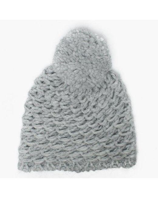 437178fcbc33a Ugg - Gray Womens Yarn Light Grey Pom Pom Beanie Hat - Lyst ...