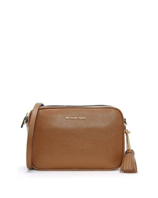 e114eabf3c905 Michael Kors - Brown Acorn Pebbled Leather Camera Bag - Lyst ...