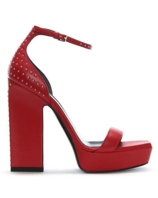 3e7597d2017 Saint Laurent - Debbie 105 Red Leather Studded Platform Sandals - Lyst ...