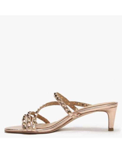 75b565f94 ... Ash - Metallic Kate Studs Rose Gold Leather Kitten Heel Sandals - Lyst  ...