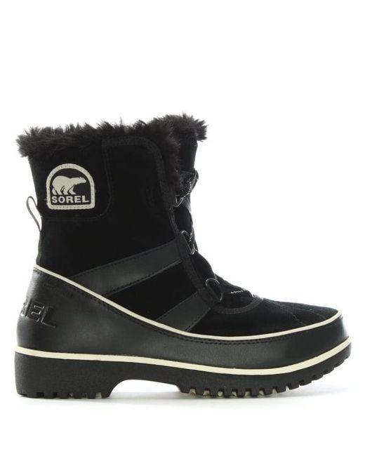 Sorel   Tilovi Black Suede Fleece Lined Snow Boot   Lyst