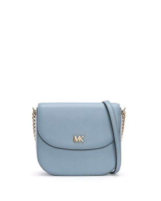 5009c1d66e4502 Michael Kors Half Dome Pale Blue Leather Cross-body Bag in Blue - Lyst