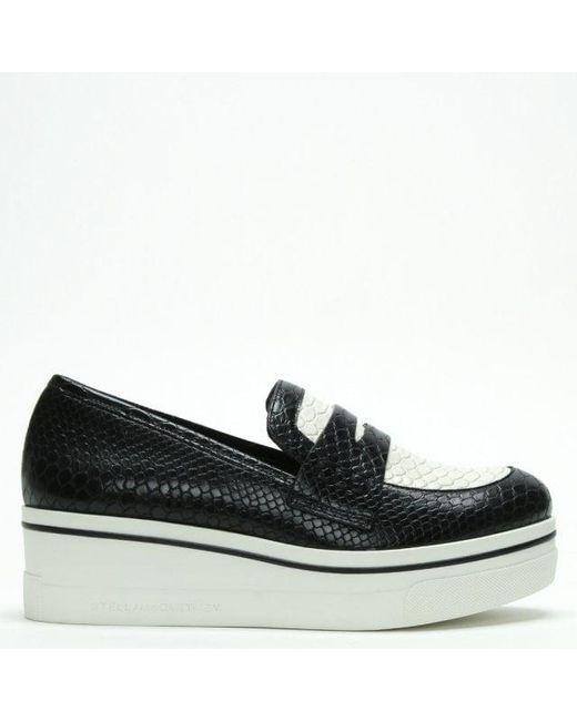 fb60af26ef3 Stella McCartney - Binx Black   White Reptile Platform Loafers - Lyst ...