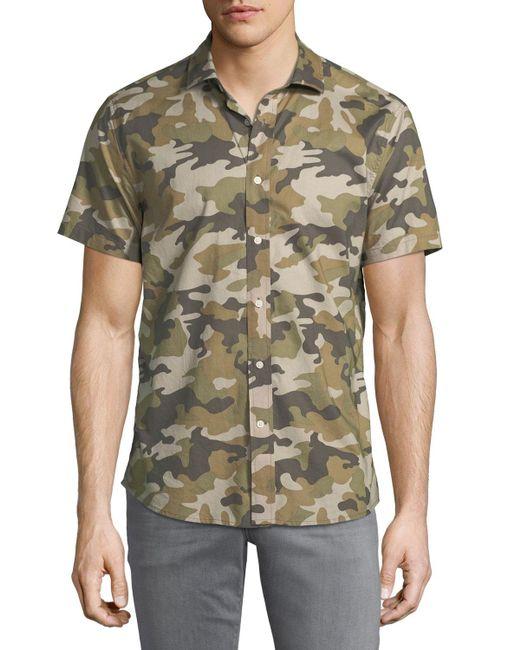 Slate & Stone - Green Camouflage Short-sleeve Sport Shirt for Men - Lyst