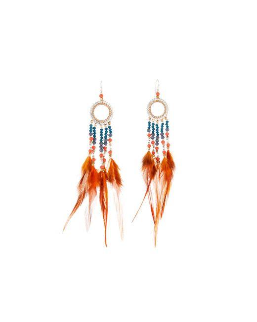 Nakamol - Orange Beaded Hoop Drop Feather Earrings - Lyst