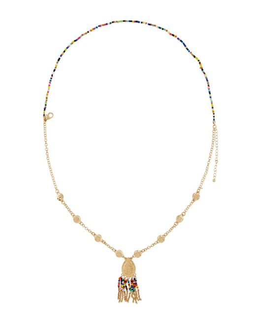 Fragments | Multicolor Layered Seed Bead Pendant Necklace | Lyst