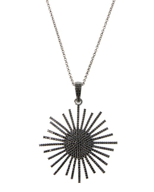 Bavna - Metallic Silver Sunburst Pendant Necklace With Black Spinel - Lyst