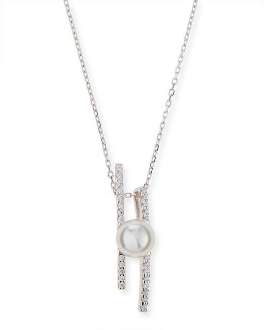 Majorica   White Pearl Pavé Crystal Bar Necklace   Lyst