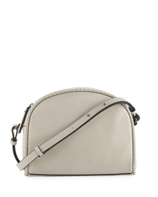 French Connection | Gray Marlee Halfmoon Stitched Crossbody Bag | Lyst