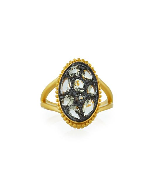 Freida Rothman - Gray Rose D'or Oval Ring - Lyst