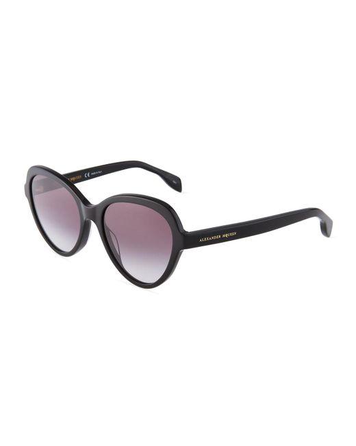 Alexander McQueen - Black Round Acetate Sunglasses - Lyst