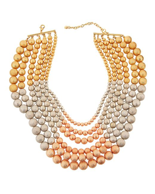 Lydell NYC - Multicolor Tri-tone Multi-row Beaded Necklace - Lyst