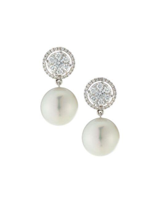 Belpearl - 18k White Gold Diamond-circle & South Sea Pearl Earrings - Lyst
