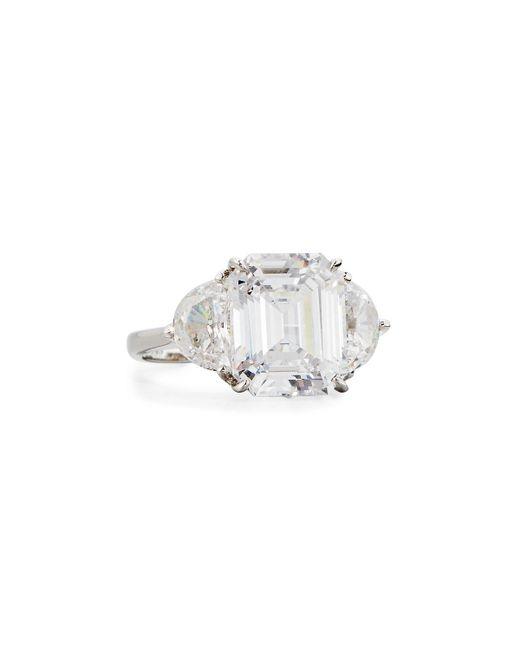 Fantasia by Deserio - White Clear Emerald-cut & Half-moon Cz Crystal Ring - Lyst