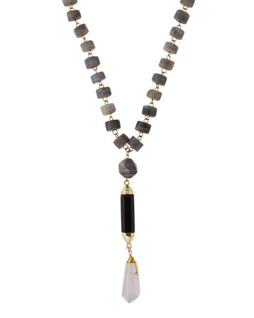 Panacea | Metallic Long Beaded Labradorite Disc Pendant Necklace | Lyst