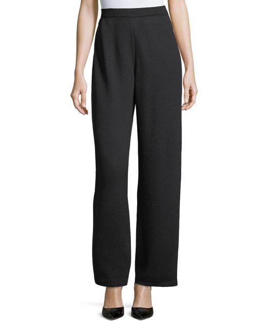 St. John Black Santana Knit Stove-cut Pants