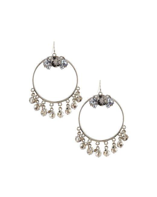 Lydell NYC | Metallic Hoop Drop Earrings W/ Shaky Crystals | Lyst