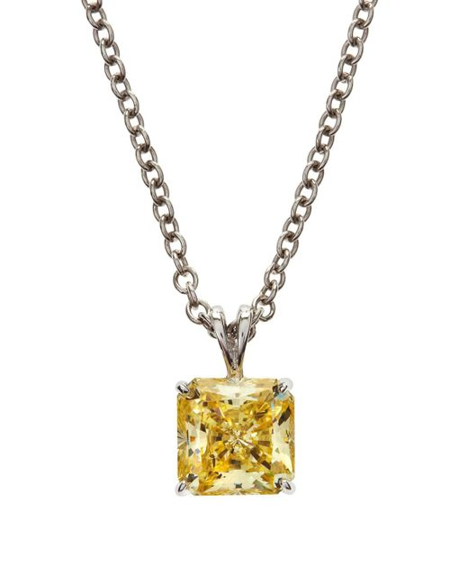 Fantasia by Deserio - Metallic Square Canary Cz Pendant Necklace - Lyst