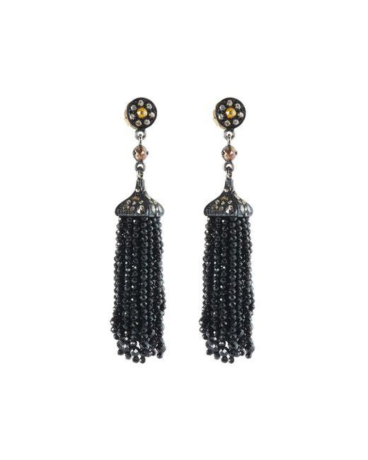 Bavna | Gray Diamond & Black Spinel Tassel Earrings | Lyst