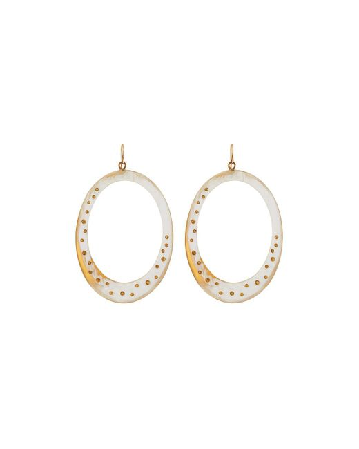 Ashley Pittman | White Mzima Studded Oval Drop Earrings | Lyst