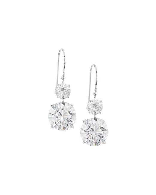 Fantasia by Deserio - Metallic 18k Gold-plated Cz Double-drop Earrings - Lyst