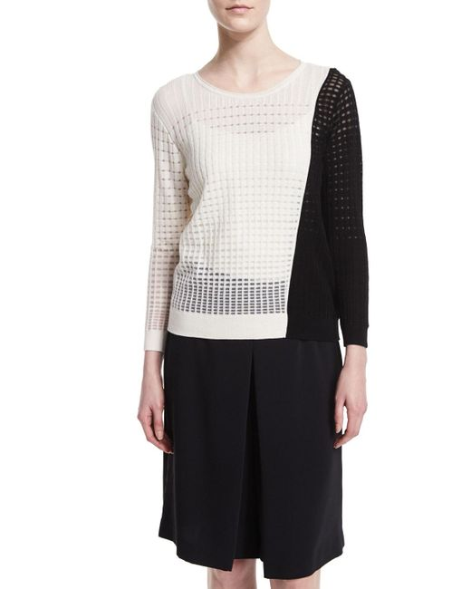 Magaschoni | Black Colorblock Open-weave Sweater | Lyst