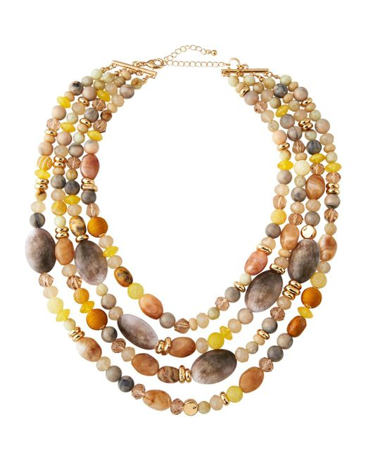 Lydell NYC - Yellow Four-strand Beaded Necklace - Lyst