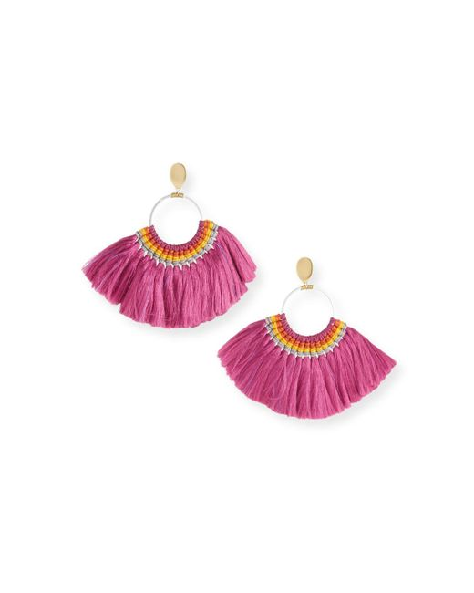 Nakamol - Pink Semicircle Fringe Earrings Magenta - Lyst