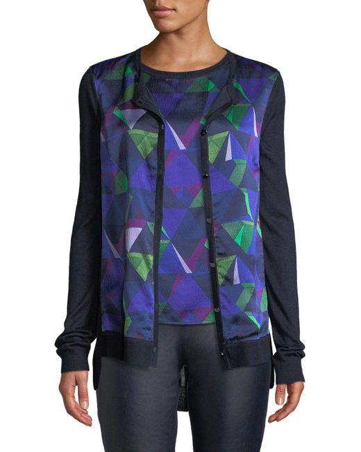 St. John Blue Jersey Knit Cardigan W/ Geo-print Silk Front