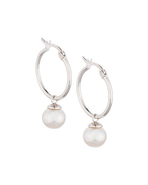 Majorica - White Sterling Hoop Earrings W/ Pearl Drop - Lyst