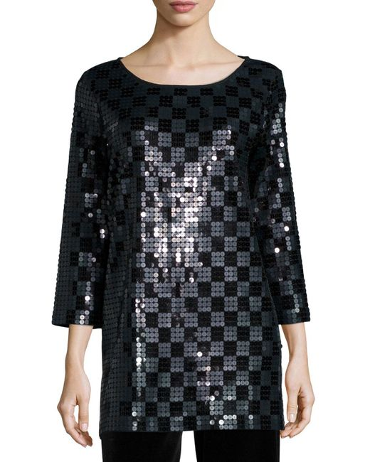 Joan Vass - Black 3/4-sleeve Square Sequined Tunic - Lyst
