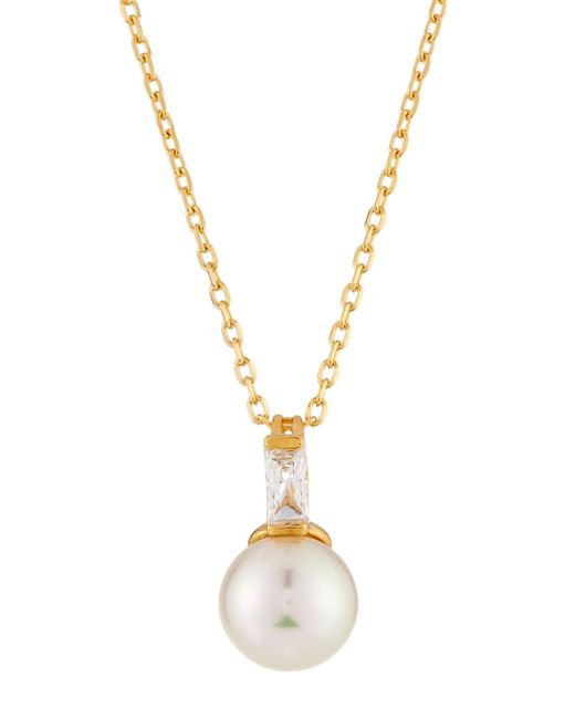 Majorica - White 18k Pearly Pendant Necklace W/ Cubic Zirconia - Lyst
