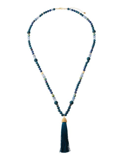 Lydell NYC - Green Mixed Bead & Tassel Pendant Necklace - Lyst