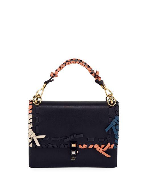 23eceda94e9f Lyst - Fendi Kan Medium Whipstitched Shoulder Bag Blue in Blue