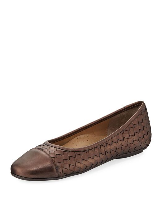 Neiman Marcus - Brown Silex Napa Leather Woven Flat - Lyst