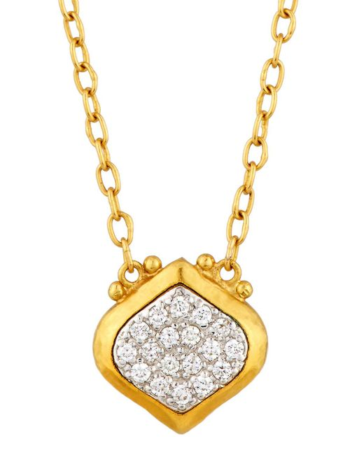 Gurhan | Metallic Clove 24k Small Pave Diamond Pendant Necklace | Lyst