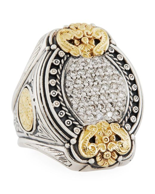 Konstantino - Metallic Asteri Ornate Oval Pave White Diamond Ring Size 7 - Lyst