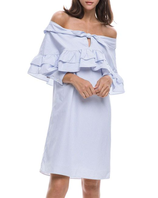 English Factory - Blue Off-the-shoulder Ruffled Shirtdress - Lyst