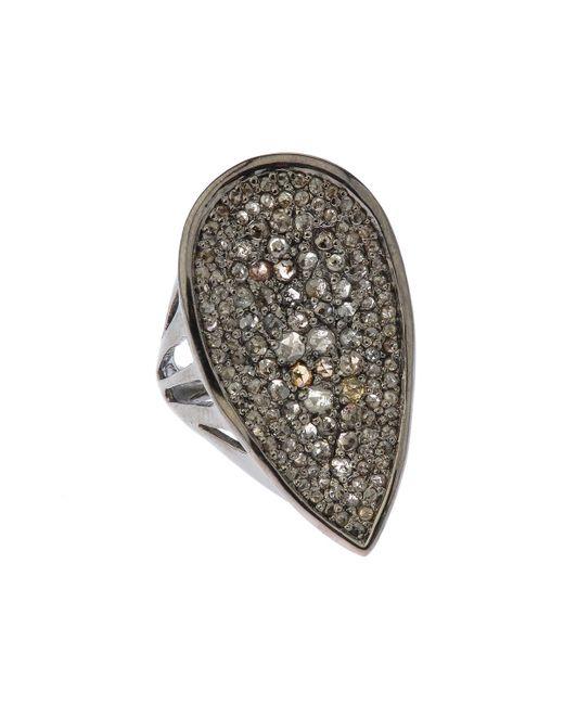 Bavna - Pear-shape Gray & Champagne Diamond Cocktail Ring - Lyst